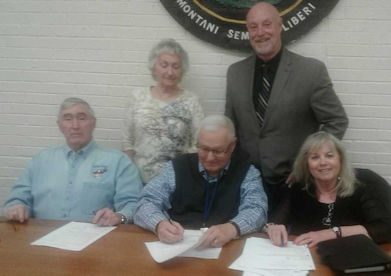 Board Members Signing Resolution